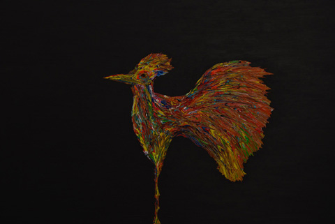 The bird who resisted the darkness 100x150 Mixed media on canvas